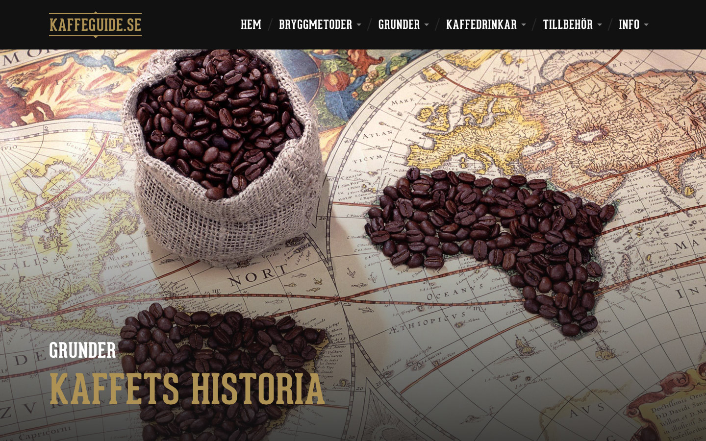 Article page for the history of coffee on Kaffeguide.se.